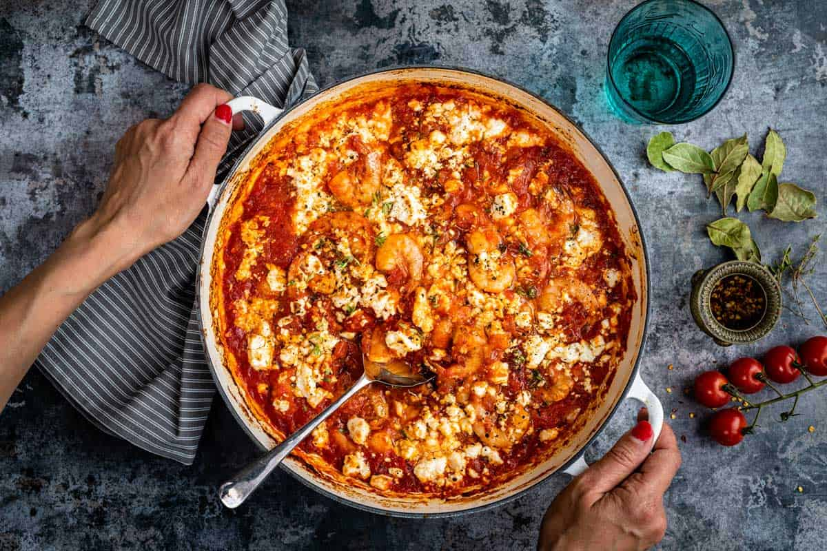 Greek Prawn Saganaki in a large casserole dish