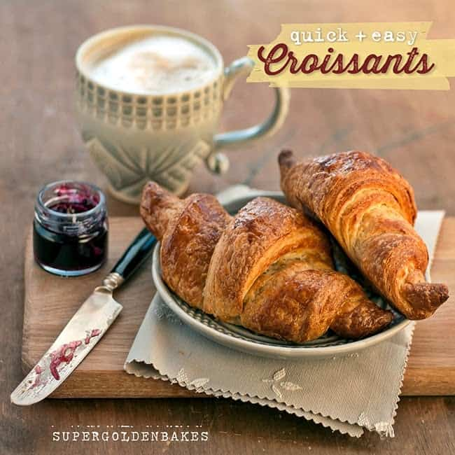 Plate with homemade croissants