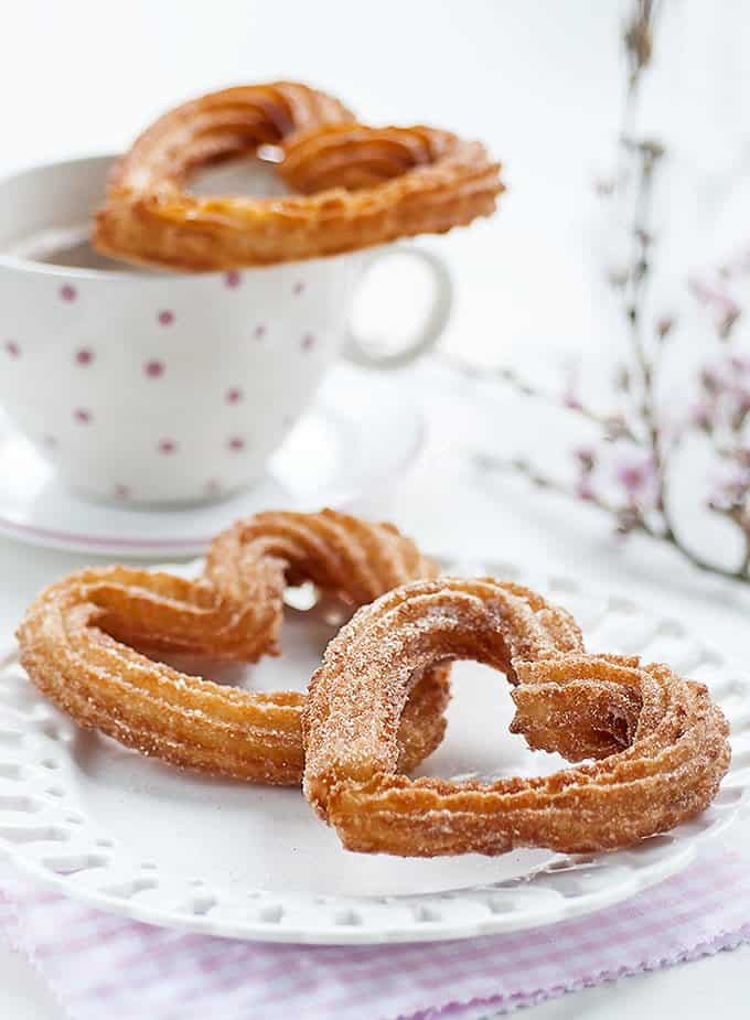 Heart shaped churros with chocolate sauce for Janod grande cuisine happy day