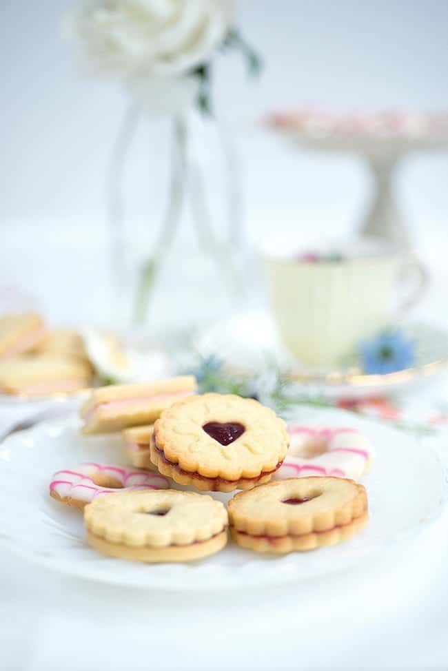 Homemade Jammie Dodger biscuits on a plate