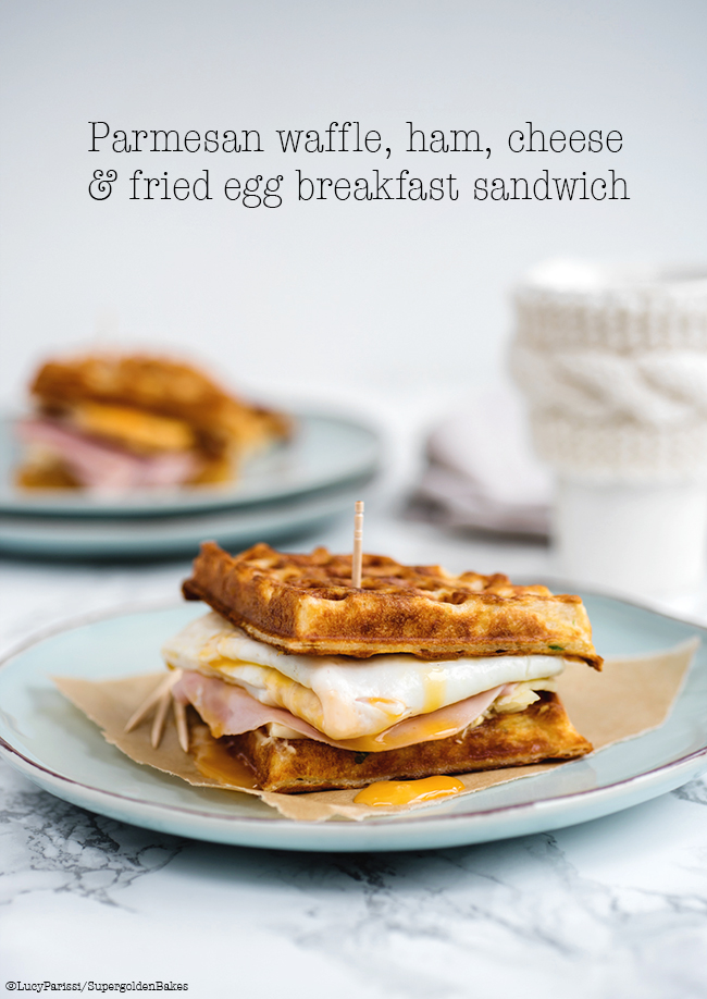 Parmesan waffle, ham, cheese and egg breakfast sandwich