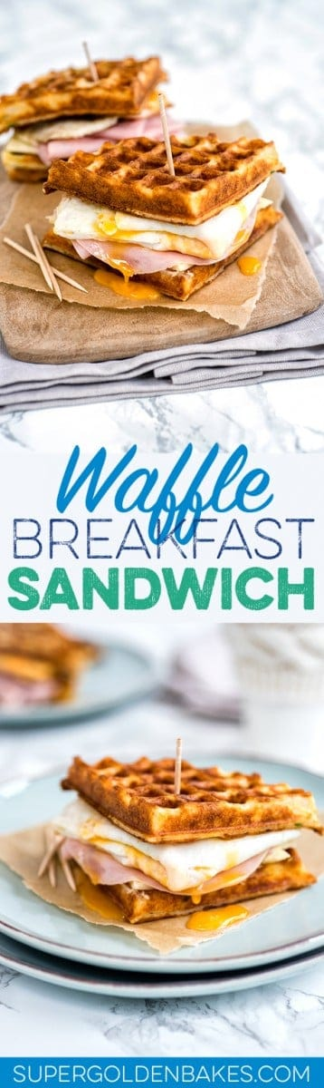 Parmesan waffle, ham, cheese and egg breakfast sandwich – perfect for breakfast or brunch!