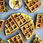 Greek Spinach, Feta and Potato Waffle Frittata with Tzatziki