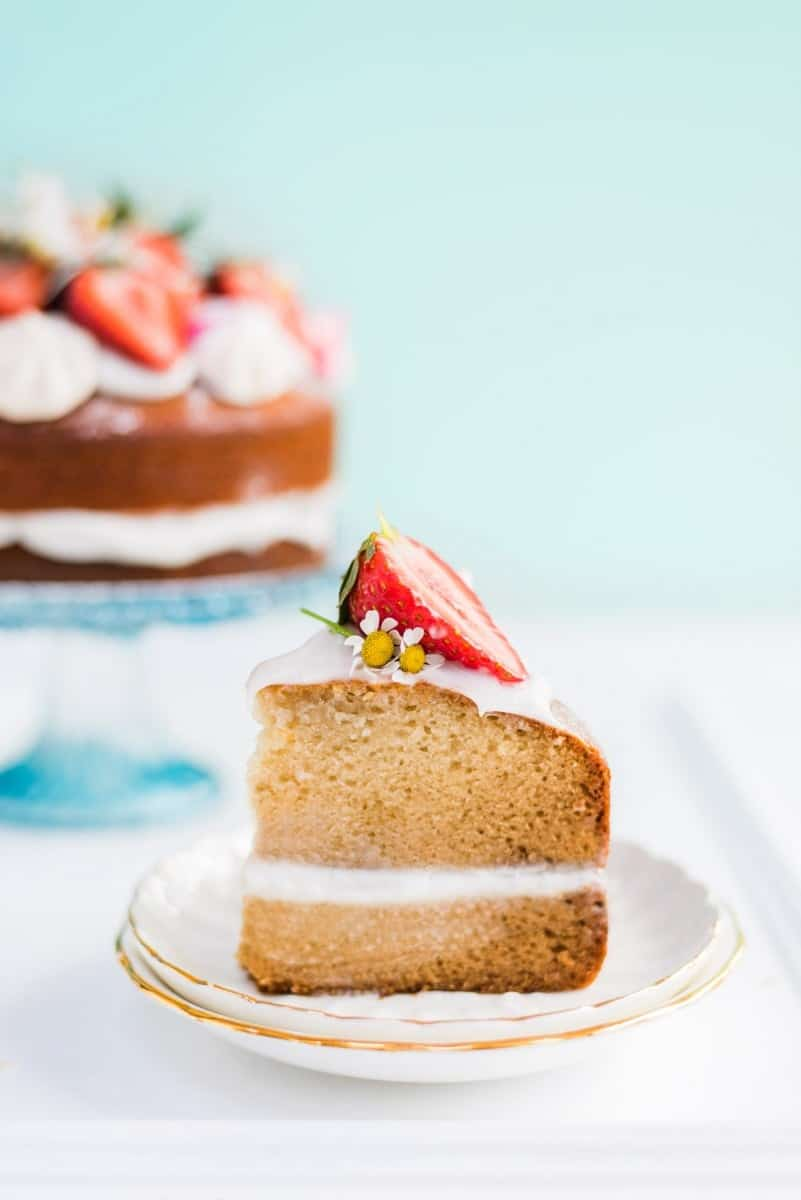 Vegan vanilla cake with whipped coconut cream – perfect for birthdays and celebrations and embarrassingly easy to make!