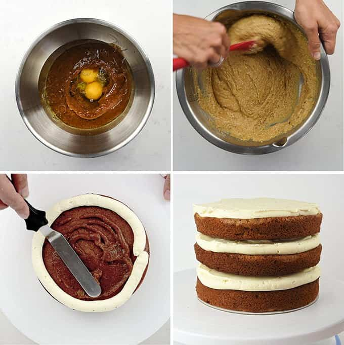 Making the spiced apple layer cake step by step
