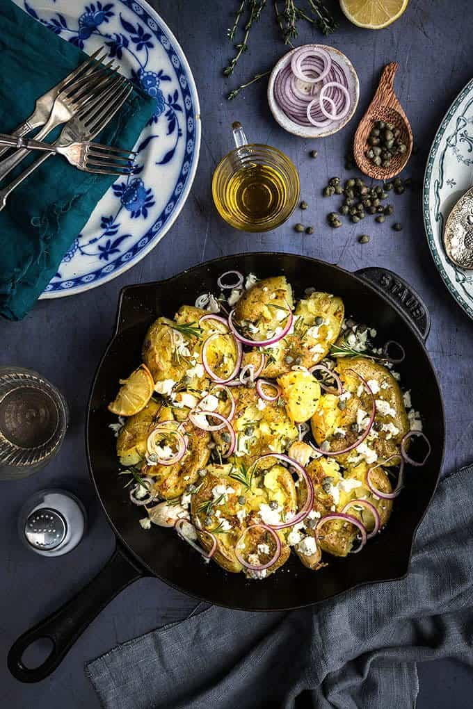Make these quick smashed Greek potatoes with feta and rosemary whenever you need a delicious side dish in a hurry... or add some protein and turn it into a main.