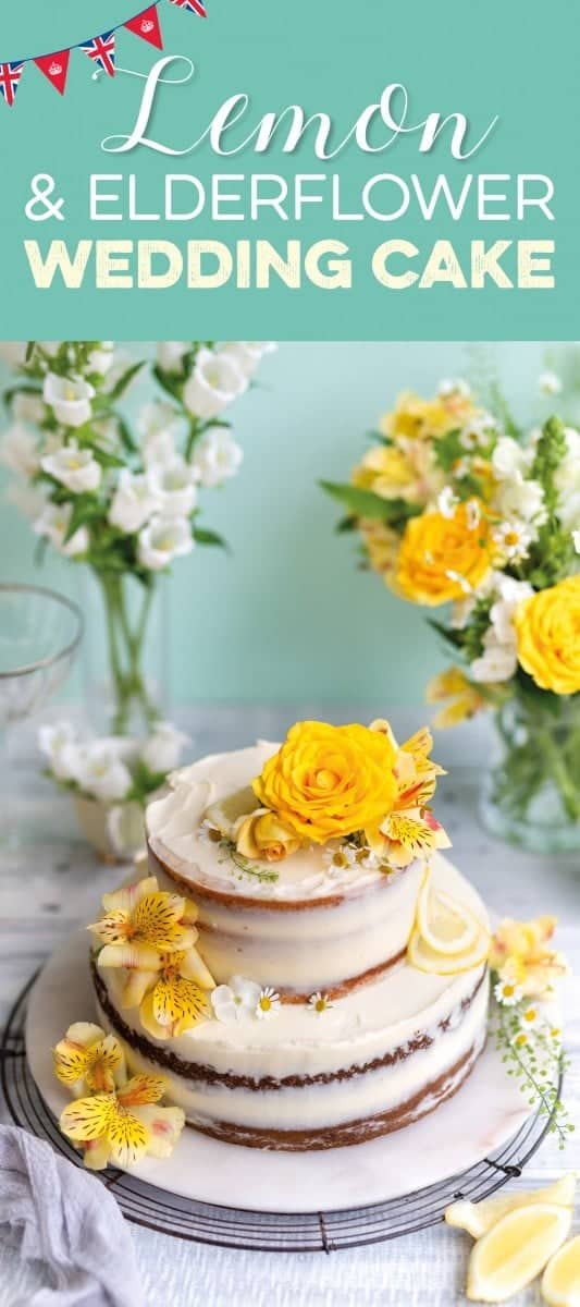 Lemon and elderflower wedding cake decorated with fresh flowers