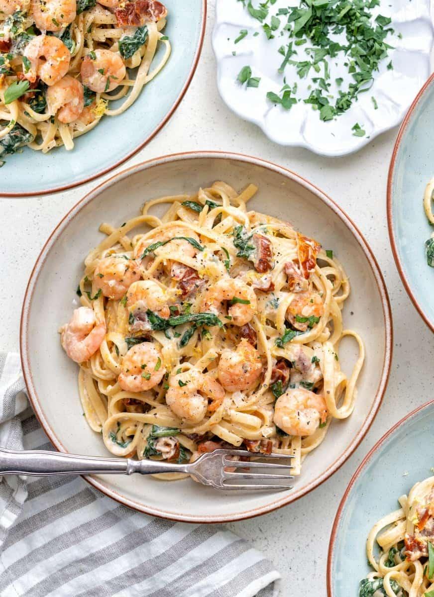 Bowl of Tuscan shrimp linguine