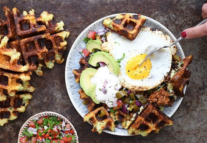 Fully loaded savoury potato waffles