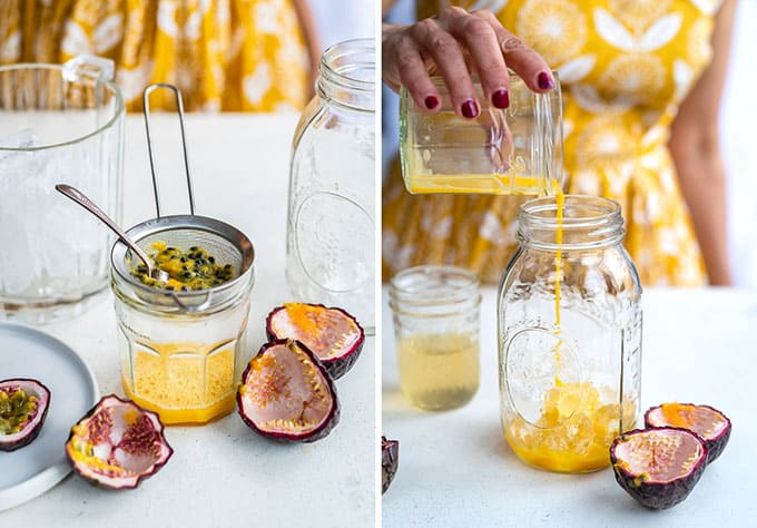Extracting passion fruit juice collage