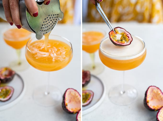 Straining a serving of Porn Star martini into a cocktail glass and garnishing with fresh passion fruit