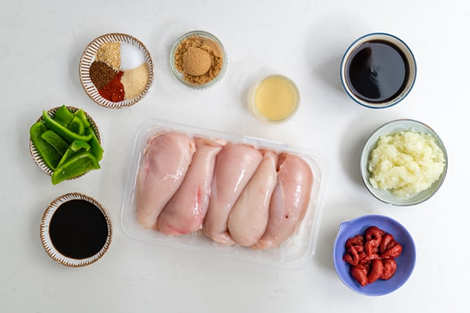 Diet Coke Chicken Ingredients laid out in bowls