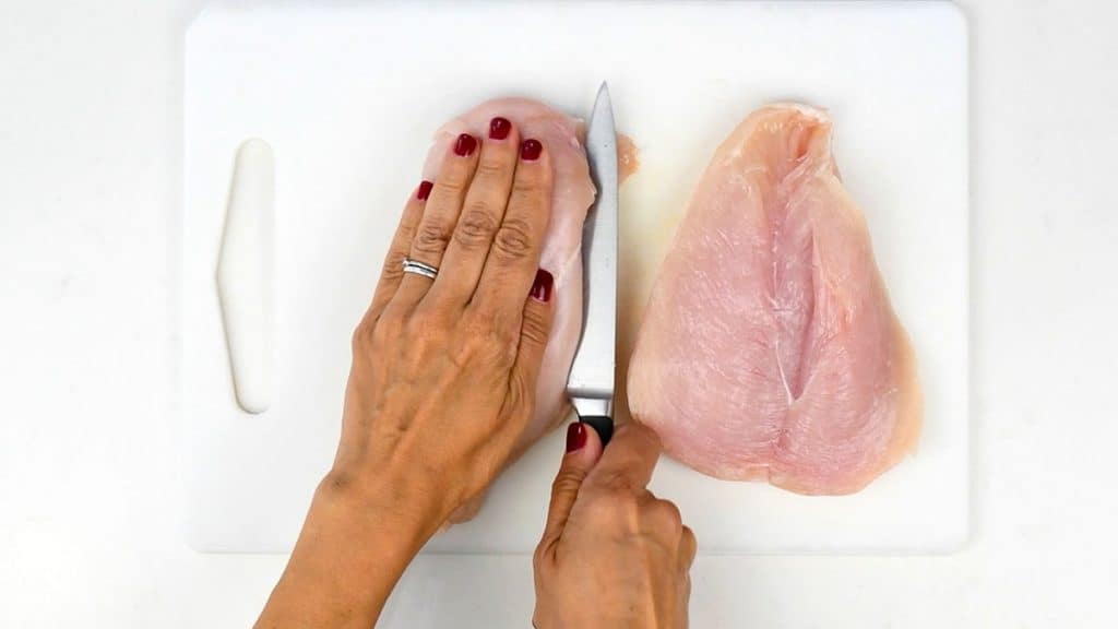 butterflying chicken breasts