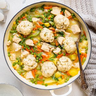 Chicken and dumpling casserole in a cast iron casserole dish