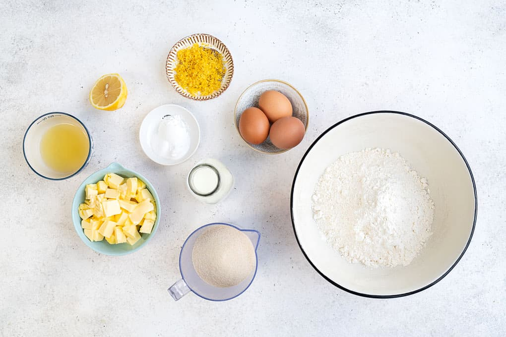 All the ingredients you will need to make a lemon drizzle cake