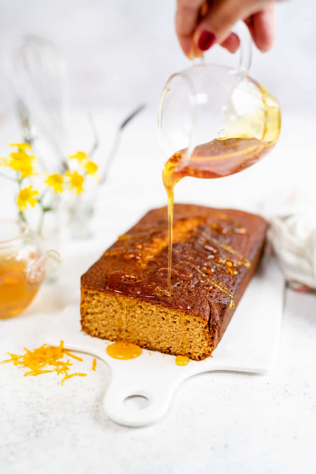 Golden syrup cake drizzled with extra golden syrup