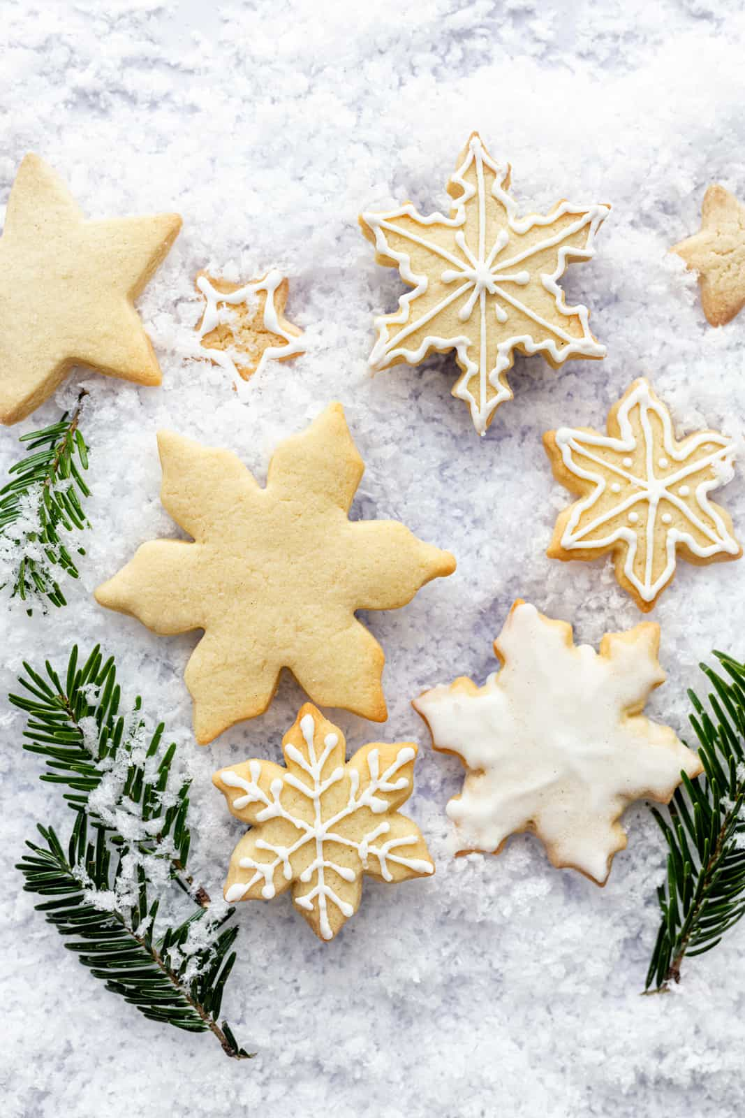 Christmas iced biscuits shaped like snowflakes