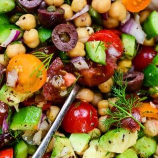 Close up on vegan chickpea salad
